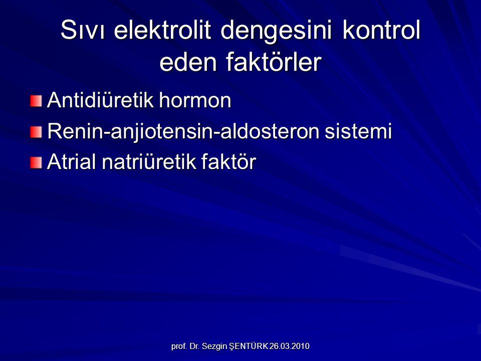 prof. Dr. Sezgin ŞENTÜRK 26.03.2010 Sıvı elektrolit dengesini kontrol eden faktörler Antidiüretik hormon Renin-anjiotensin-aldosteron sistemi Atrial n