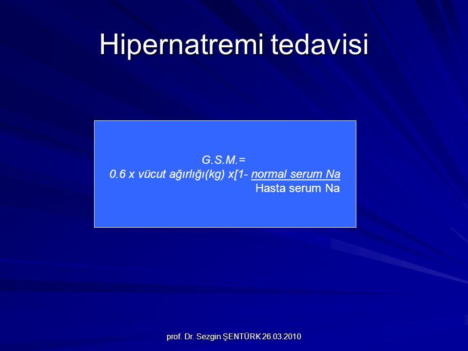 prof. Dr. Sezgin ŞENTÜRK 26.03.2010 Hipernatremi tedavisi G.S.M.= 0.6 x vücut ağırlığı(kg) x[1- normal serum Na Hasta serum Na