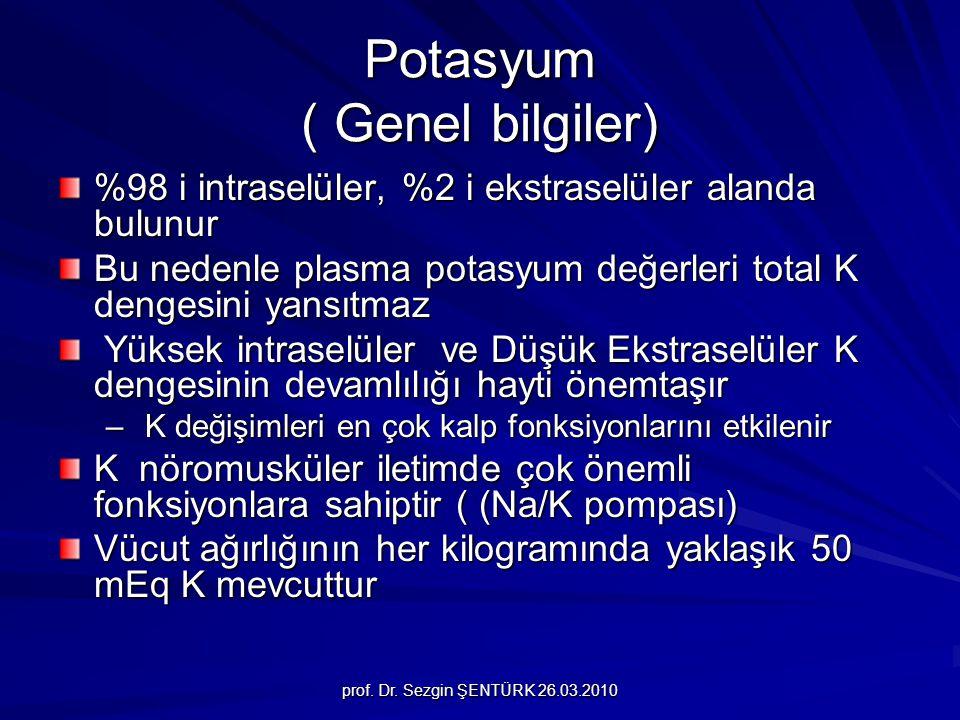 prof. Dr. Sezgin ŞENTÜRK 26.03.2010 Potasyum ( Genel bilgiler) %98 i intraselüler, %2 i ekstraselüler alanda bulunur Bu nedenle plasma potasyum değerl