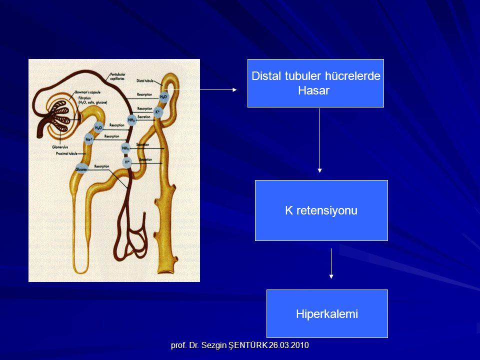 prof. Dr. Sezgin ŞENTÜRK 26.03.2010 Distal tubuler hücrelerde Hasar K retensiyonu Hiperkalemi