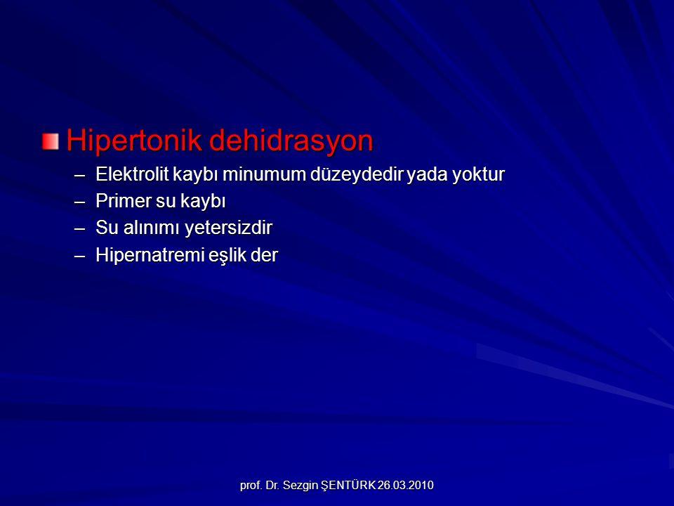 prof. Dr. Sezgin ŞENTÜRK 26.03.2010 Hipertonik dehidrasyon –Elektrolit kaybı minumum düzeydedir yada yoktur –Primer su kaybı –Su alınımı yetersizdir –