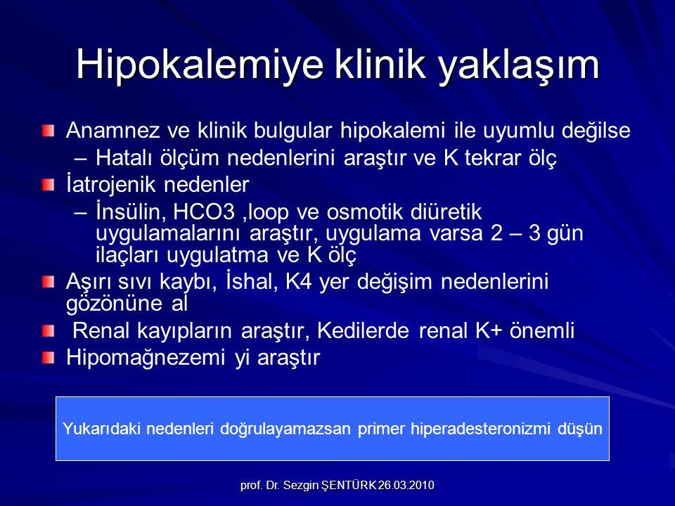 prof. Dr. Sezgin ŞENTÜRK 26.03.2010 Hipokalemiye klinik yaklaşım Anamnez ve klinik bulgular hipokalemi ile uyumlu değilse – –Hatalı ölçüm nedenlerini