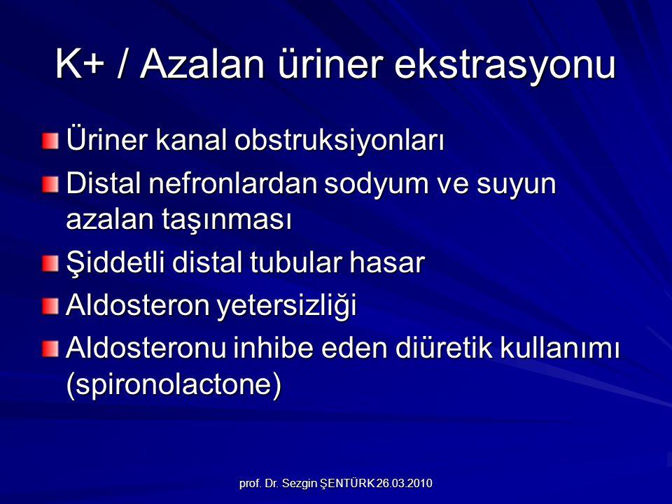 prof. Dr. Sezgin ŞENTÜRK 26.03.2010 K+ / Azalan üriner ekstrasyonu Üriner kanal obstruksiyonları Distal nefronlardan sodyum ve suyun azalan taşınması