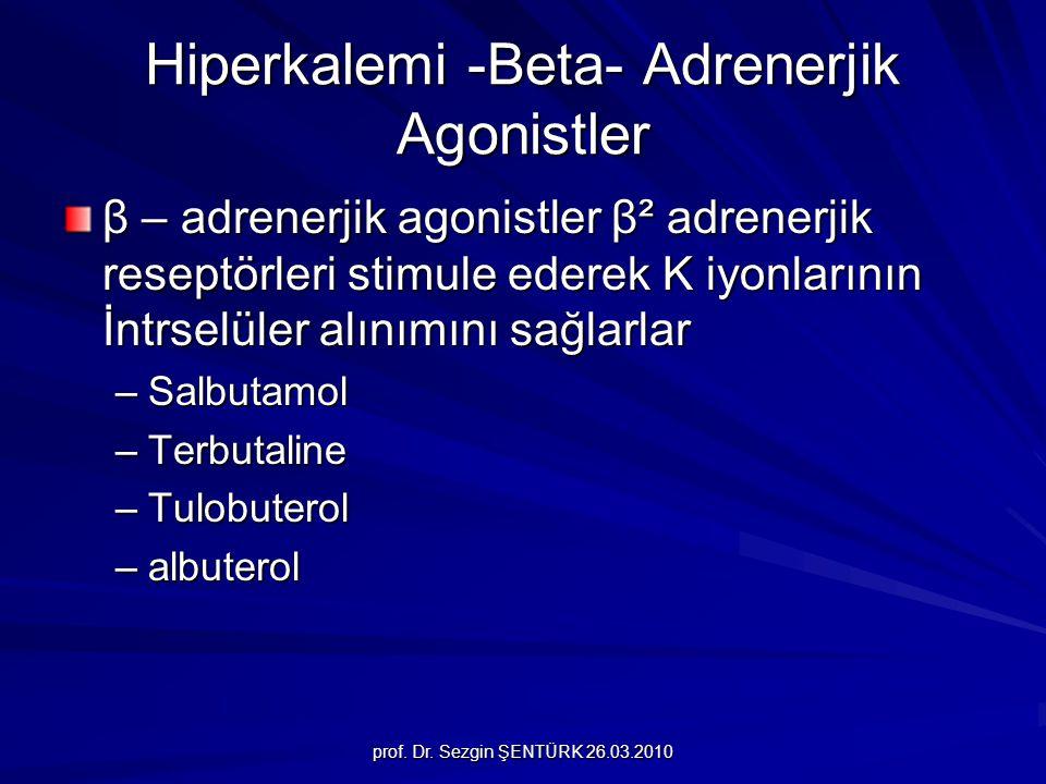 prof. Dr. Sezgin ŞENTÜRK 26.03.2010 Hiperkalemi -Beta- Adrenerjik Agonistler β – adrenerjik agonistler β² adrenerjik reseptörleri stimule ederek K iyo