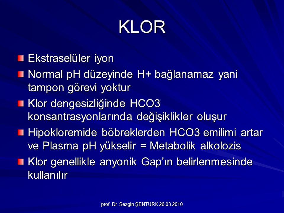 prof. Dr. Sezgin ŞENTÜRK 26.03.2010 KLOR Ekstraselüler iyon Normal pH düzeyinde H+ bağlanamaz yani tampon görevi yoktur Klor dengesizliğinde HCO3 kons