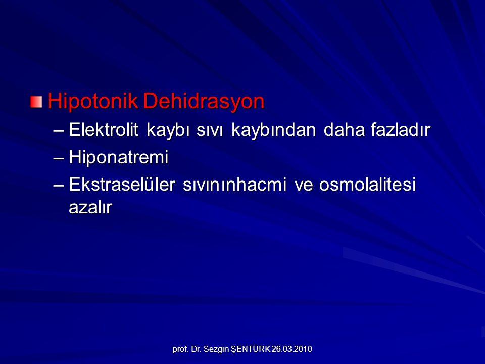 prof. Dr. Sezgin ŞENTÜRK 26.03.2010 Hipotonik Dehidrasyon –Elektrolit kaybı sıvı kaybından daha fazladır –Hiponatremi –Ekstraselüler sıvınınhacmi ve o