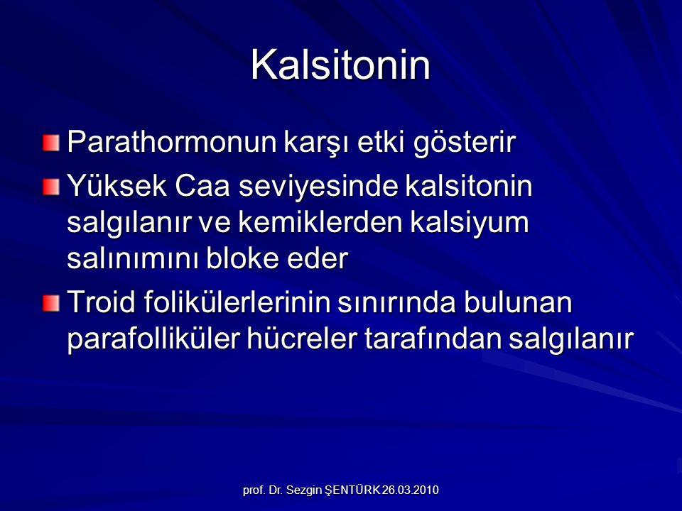 prof. Dr. Sezgin ŞENTÜRK 26.03.2010 Kalsitonin Parathormonun karşı etki gösterir Yüksek Caa seviyesinde kalsitonin salgılanır ve kemiklerden kalsiyum