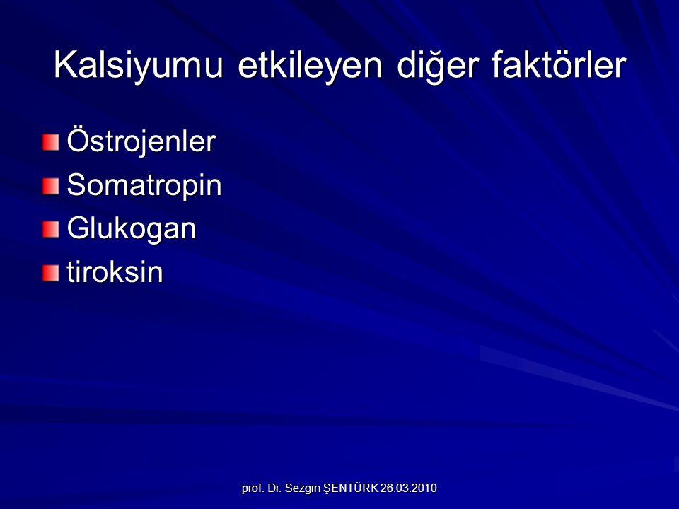 prof. Dr. Sezgin ŞENTÜRK 26.03.2010 Kalsiyumu etkileyen diğer faktörler ÖstrojenlerSomatropinGlukogantiroksin
