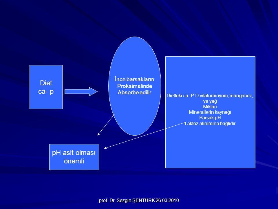 prof. Dr. Sezgin ŞENTÜRK 26.03.2010 Diet ca- p İnce barsakların Proksimalinde Absorbe edilir Dietteki ca- P D vitaluminyum, manganez, ve yağ Miktarı M