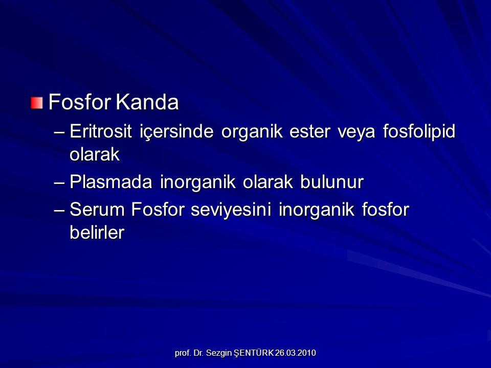 prof. Dr. Sezgin ŞENTÜRK 26.03.2010 Fosfor Kanda –Eritrosit içersinde organik ester veya fosfolipid olarak –Plasmada inorganik olarak bulunur –Serum F
