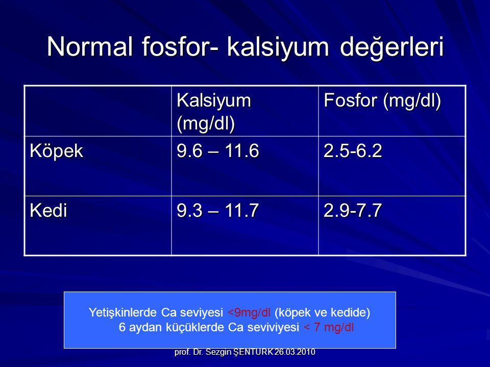 prof. Dr. Sezgin ŞENTÜRK 26.03.2010 Normal fosfor- kalsiyum değerleri Kalsiyum (mg/dl) Fosfor (mg/dl) Köpek 9.6 – 11.6 2.5-6.2 Kedi 9.3 – 11.7 2.9-7.7