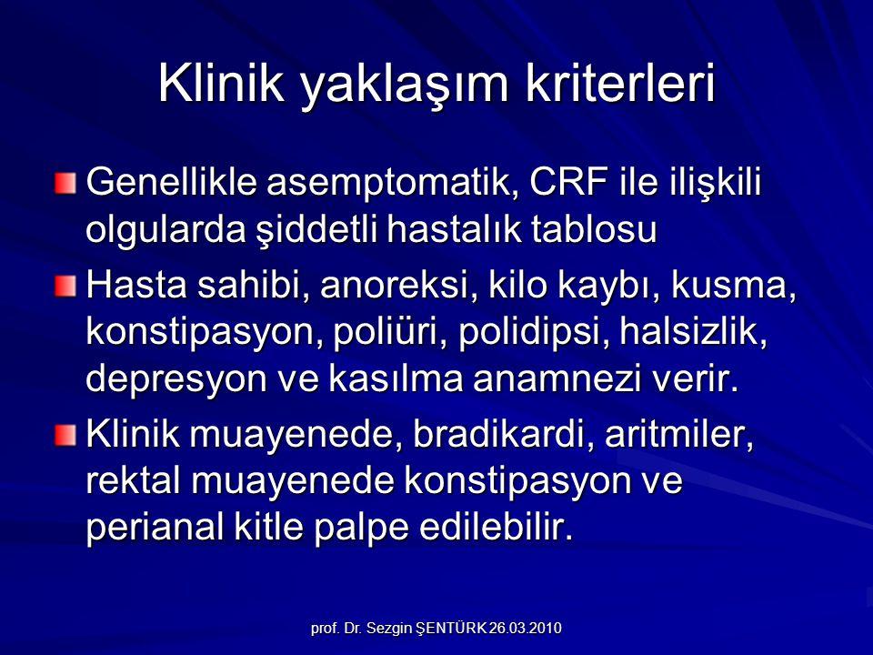 prof. Dr. Sezgin ŞENTÜRK 26.03.2010 Klinik yaklaşım kriterleri Genellikle asemptomatik, CRF ile ilişkili olgularda şiddetli hastalık tablosu Hasta sah
