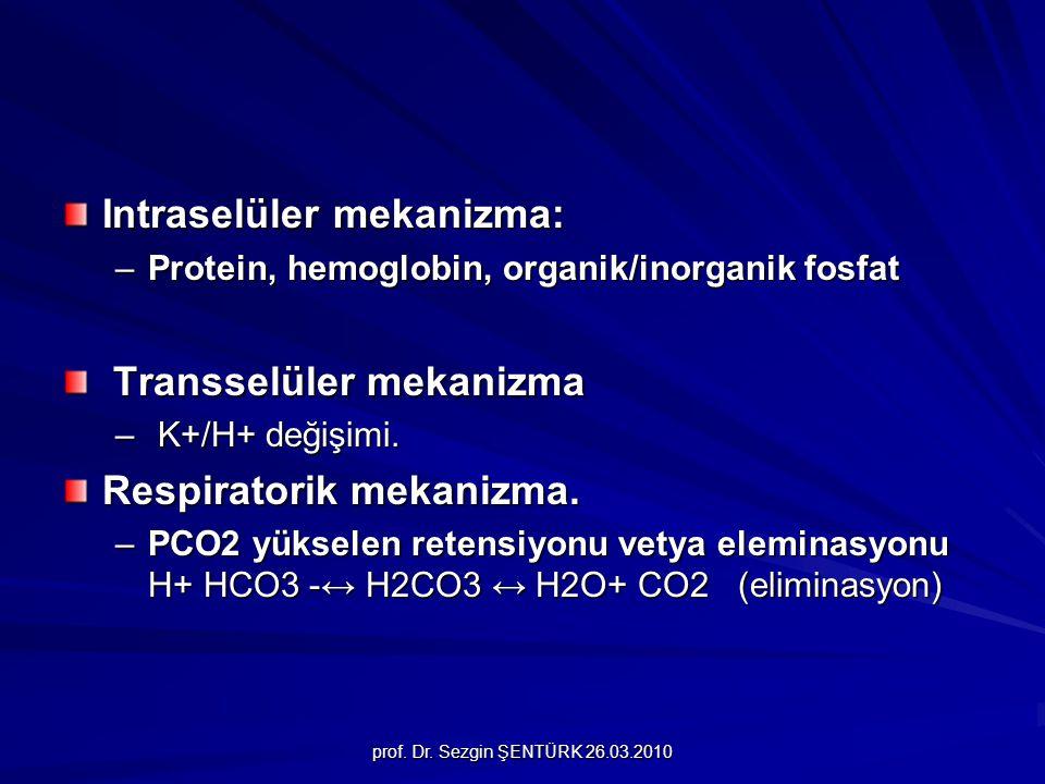 prof. Dr. Sezgin ŞENTÜRK 26.03.2010 Intraselüler mekanizma: –Protein, hemoglobin, organik/inorganik fosfat Transselüler mekanizma Transselüler mekaniz