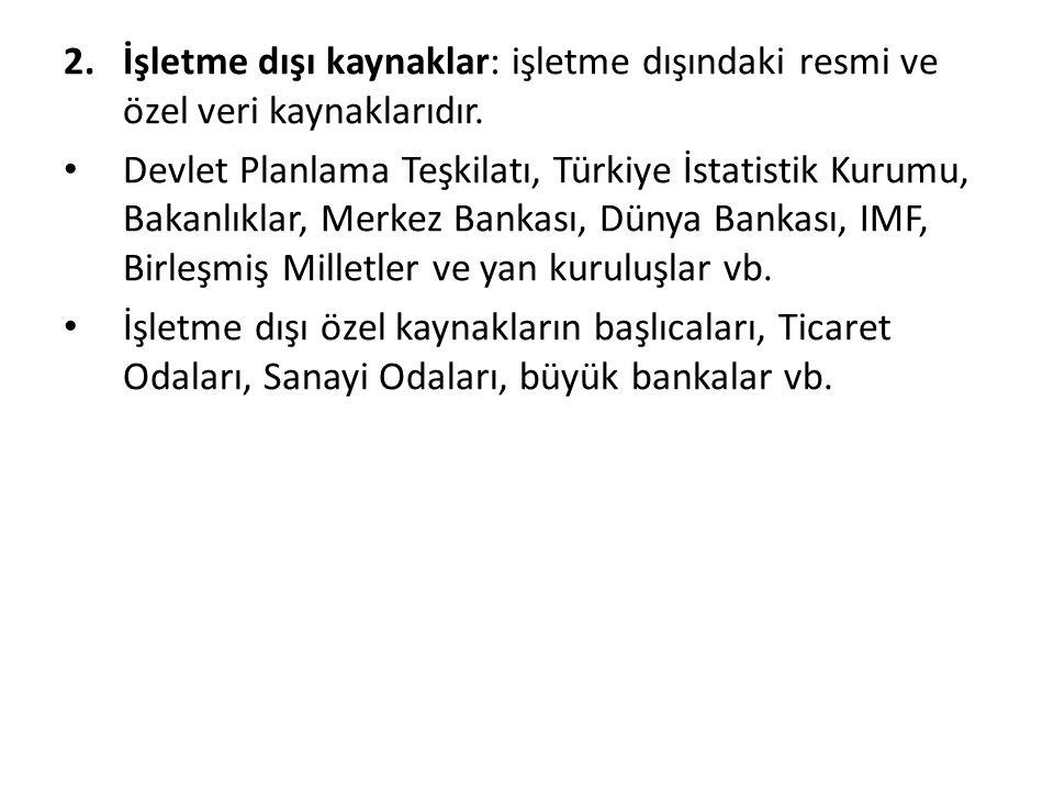 2.İşletme dışı kaynaklar: işletme dışındaki resmi ve özel veri kaynaklarıdır. Devlet Planlama Teşkilatı, Türkiye İstatistik Kurumu, Bakanlıklar, Merke