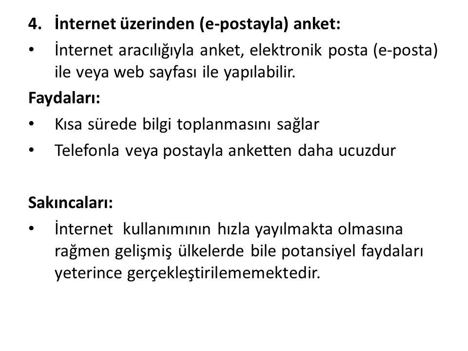 4.İnternet üzerinden (e-postayla) anket: İnternet aracılığıyla anket, elektronik posta (e-posta) ile veya web sayfası ile yapılabilir. Faydaları: Kısa