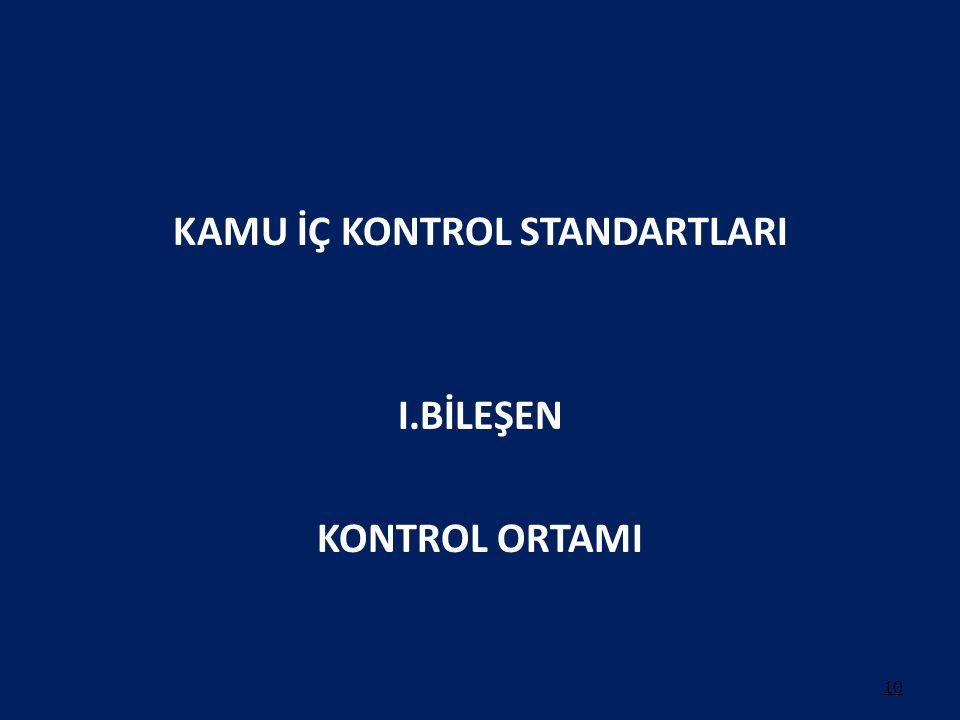 KAMU İÇ KONTROL STANDARTLARI I.BİLEŞEN KONTROL ORTAMI 10