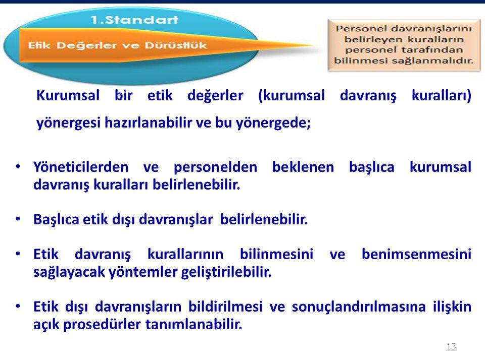 Kurumsal bir etik değerler (kurumsal davranış kuralları) yönergesi hazırlanabilir ve bu yönergede; Yöneticilerden ve personelden beklenen başlıca kuru