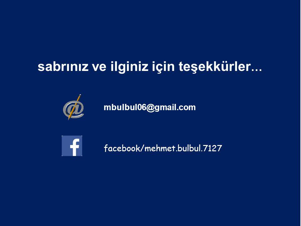 sabrınız ve ilginiz için teşekkürler … mbulbul06@gmail.com facebook/mehmet.bulbul.7127