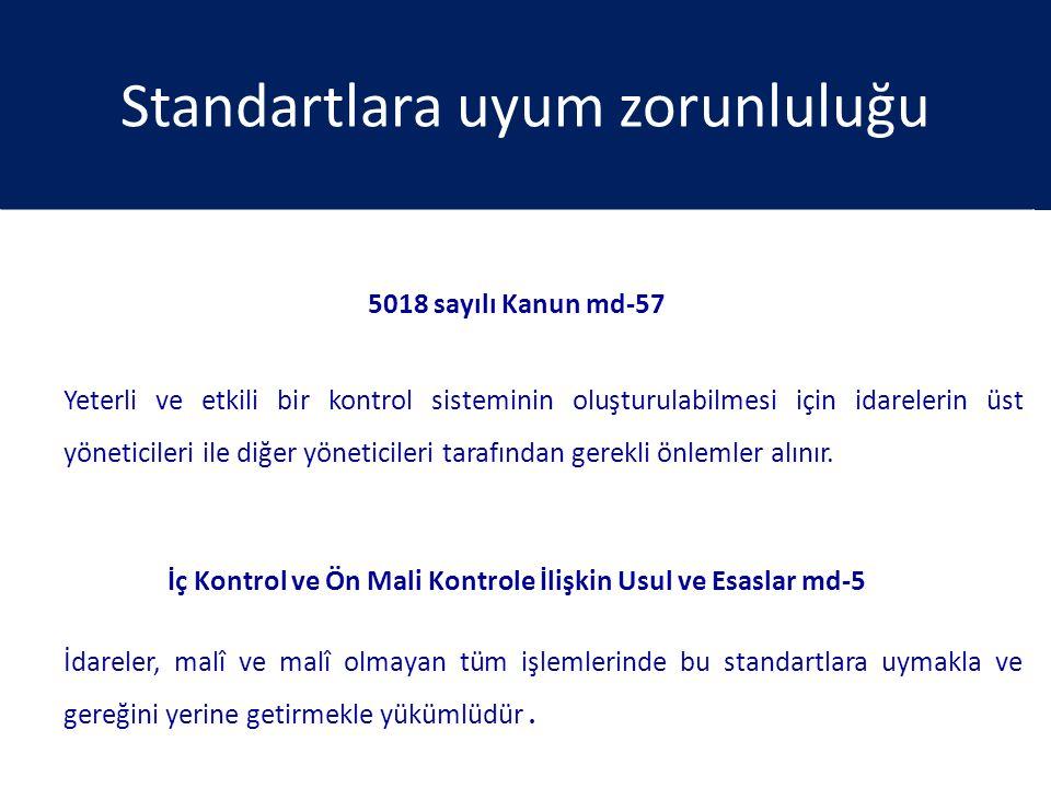 Standartlara uyum zorunluluğu 5018 sayılı Kanun md-57 Yeterli ve etkili bir kontrol sisteminin oluşturulabilmesi için idarelerin üst yöneticileri ile