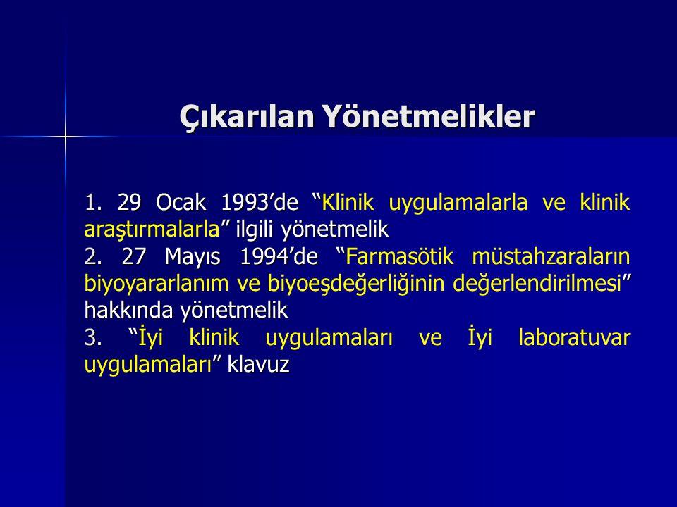 """Çıkarılan Yönetmelikler 1. 29 Ocak 1993'de """" """" ilgili yönetmelik 1. 29 Ocak 1993'de """"Klinik uygulamalarla ve klinik araştırmalarla"""" ilgili yönetmelik"""