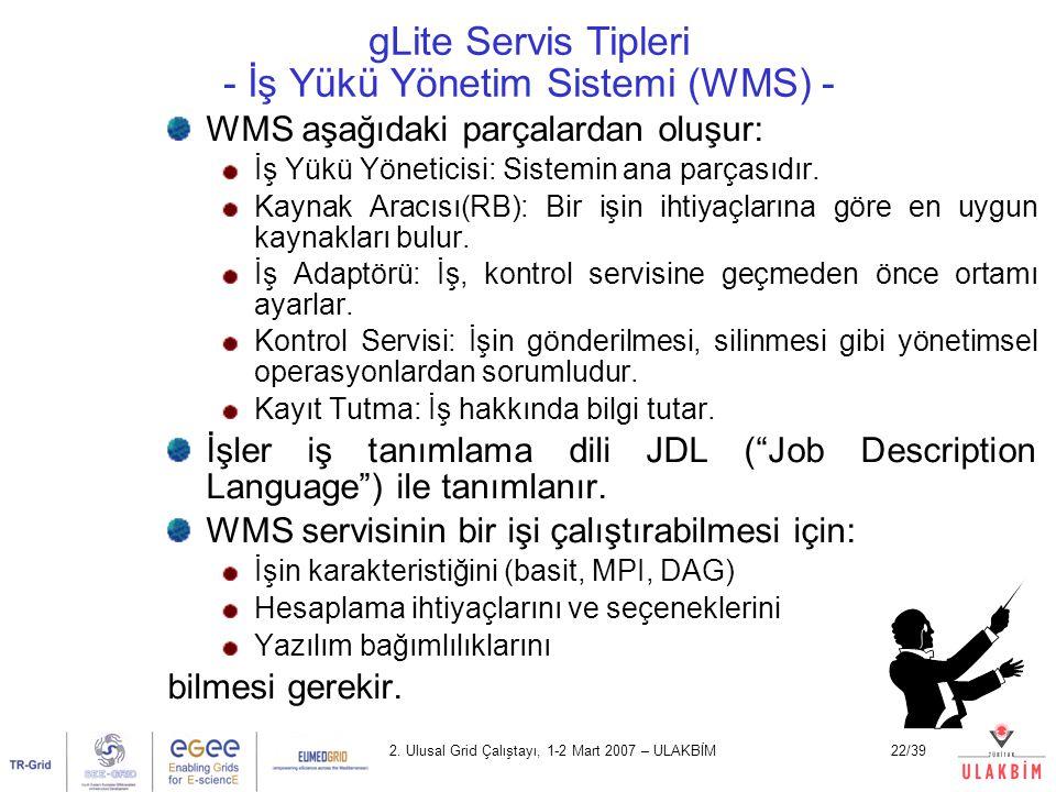 2. Ulusal Grid Çalıştayı, 1-2 Mart 2007 – ULAKBİM22/39 gLite Servis Tipleri - İş Yükü Yönetim Sistemi (WMS) - WMS aşağıdaki parçalardan oluşur: İş Yük