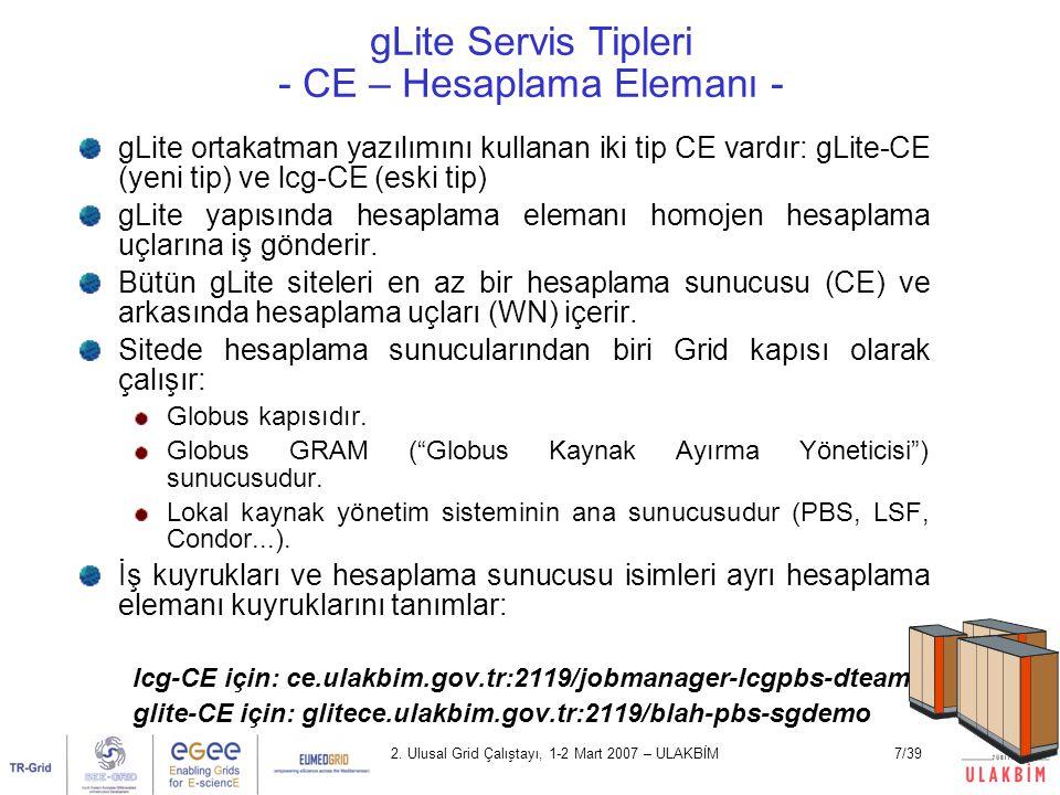 2. Ulusal Grid Çalıştayı, 1-2 Mart 2007 – ULAKBİM7/39 gLite Servis Tipleri - CE – Hesaplama Elemanı - gLite ortakatman yazılımını kullanan iki tip CE
