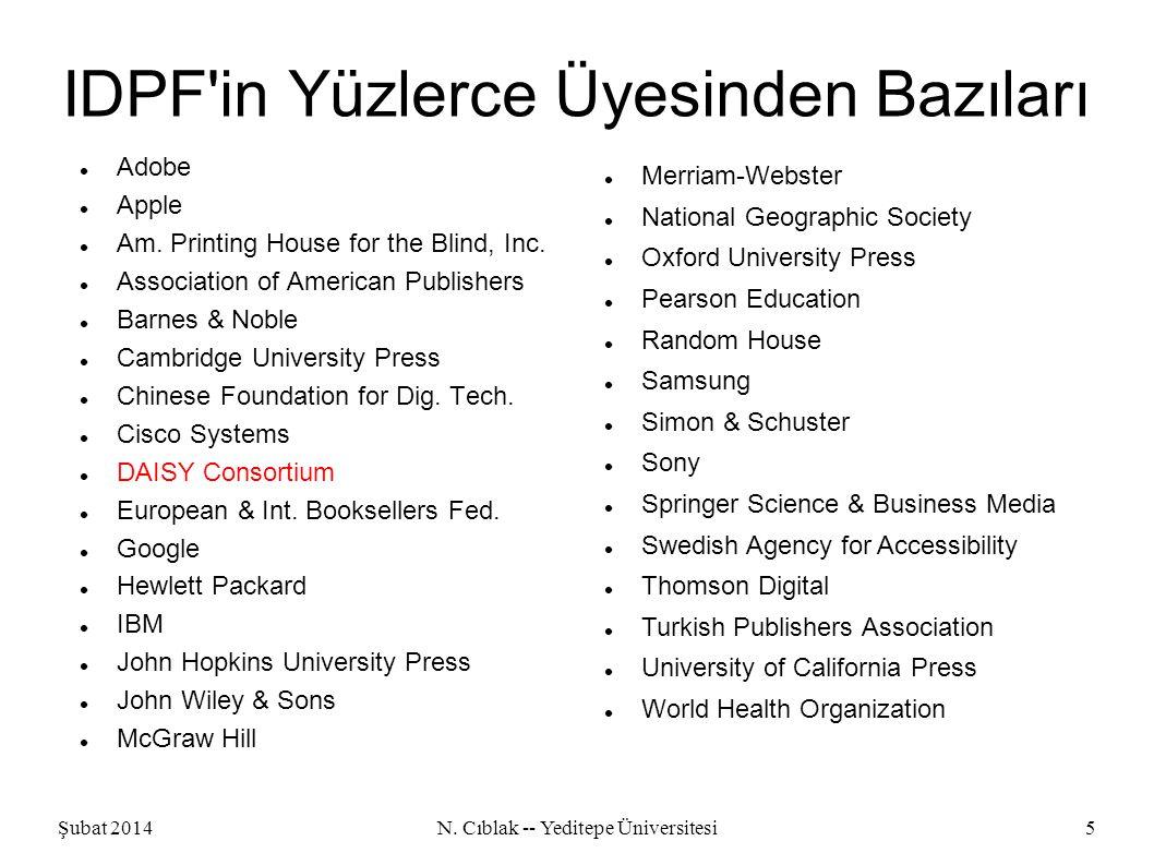 Şubat 2014N. Cıblak -- Yeditepe Üniversitesi5 IDPF in Yüzlerce Üyesinden Bazıları Adobe Apple Am.