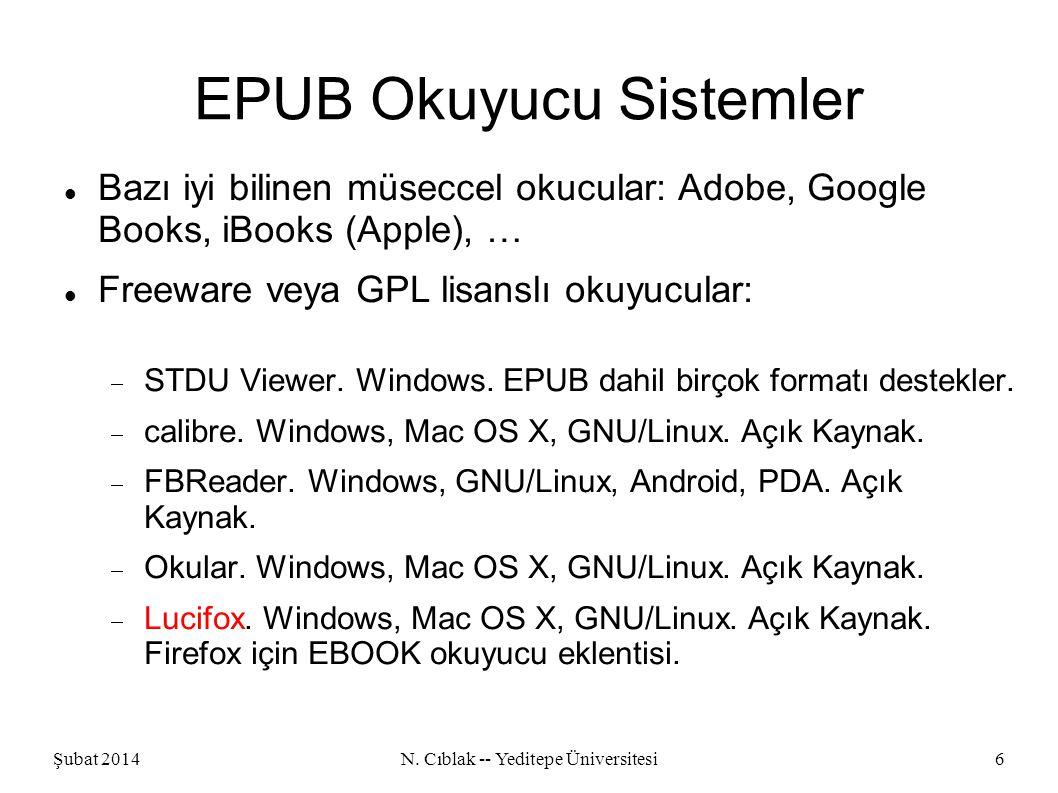 Şubat 2014N.Cıblak -- Yeditepe Üniversitesi7 EPUB Yazıcı/Dönüştürücü Sistemler Aspose.