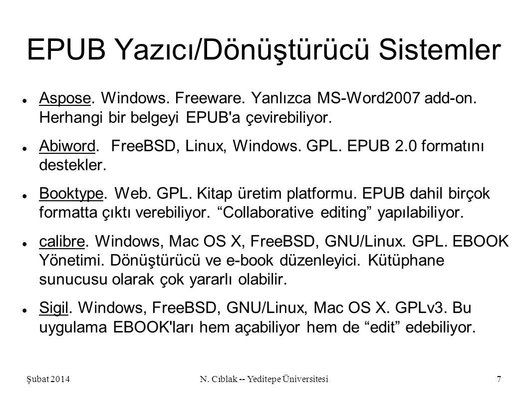 Şubat 2014N. Cıblak -- Yeditepe Üniversitesi7 EPUB Yazıcı/Dönüştürücü Sistemler Aspose.