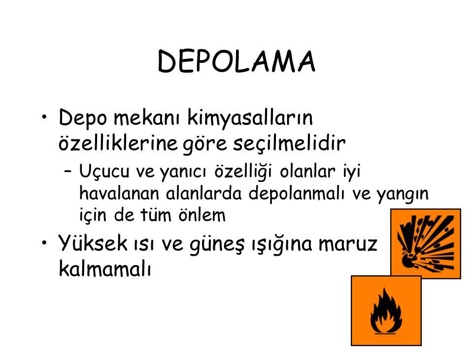 DEPOLAMA Depo mekanı kimyasalların özelliklerine göre seçilmelidir –Uçucu ve yanıcı özelliği olanlar iyi havalanan alanlarda depolanmalı ve yangın içi