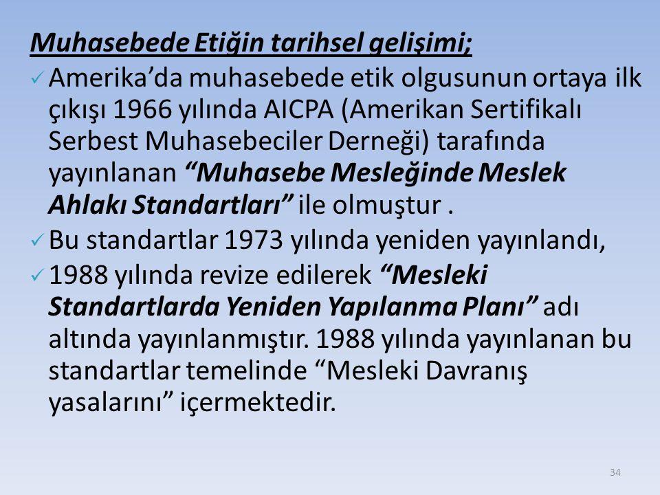 34 Muhasebede Etiğin tarihsel gelişimi; Amerika'da muhasebede etik olgusunun ortaya ilk çıkışı 1966 yılında AICPA (Amerikan Sertifikalı Serbest Muhasebeciler Derneği) tarafında yayınlanan Muhasebe Mesleğinde Meslek Ahlakı Standartları ile olmuştur.