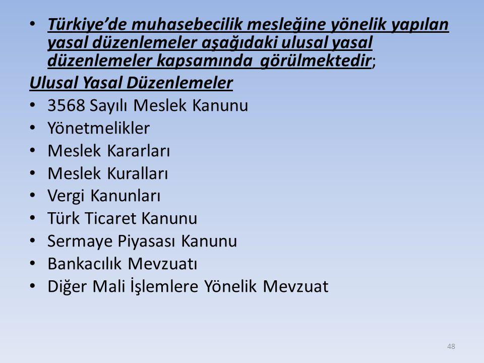 Türkiye'de muhasebecilik mesleğine yönelik yapılan yasal düzenlemeler aşağıdaki ulusal yasal düzenlemeler kapsamında görülmektedir; Ulusal Yasal Düzenlemeler 3568 Sayılı Meslek Kanunu Yönetmelikler Meslek Kararları Meslek Kuralları Vergi Kanunları Türk Ticaret Kanunu Sermaye Piyasası Kanunu Bankacılık Mevzuatı Diğer Mali İşlemlere Yönelik Mevzuat 48