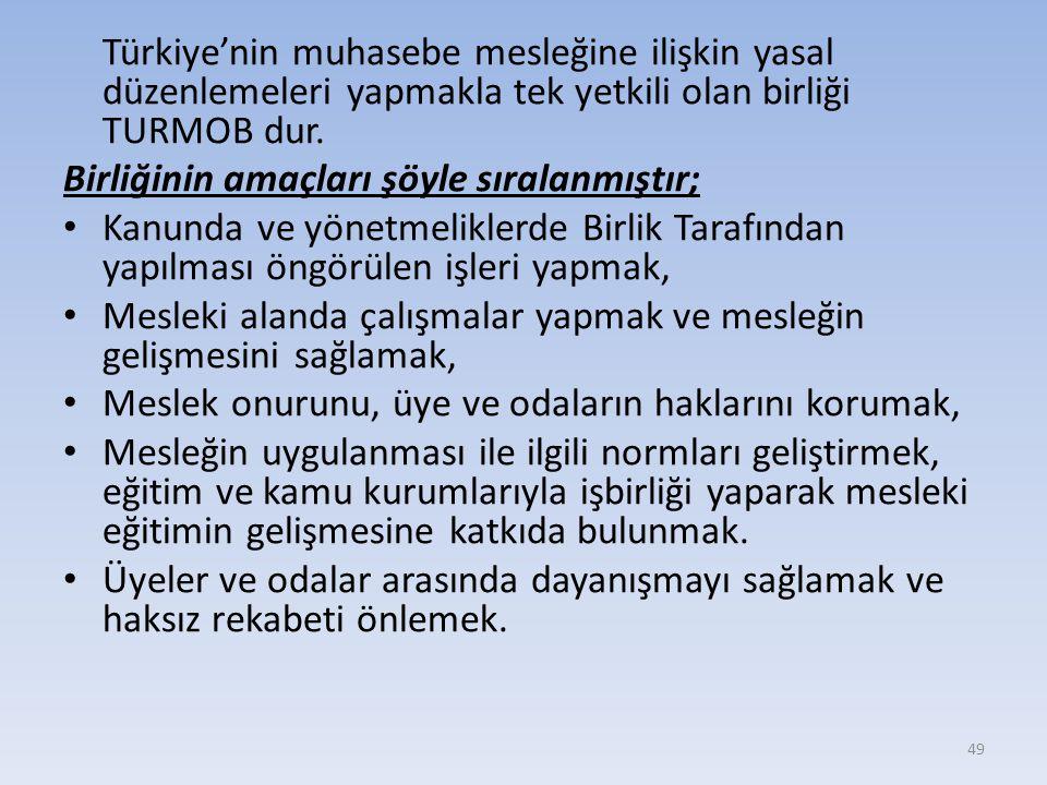 Türkiye'nin muhasebe mesleğine ilişkin yasal düzenlemeleri yapmakla tek yetkili olan birliği TURMOB dur.