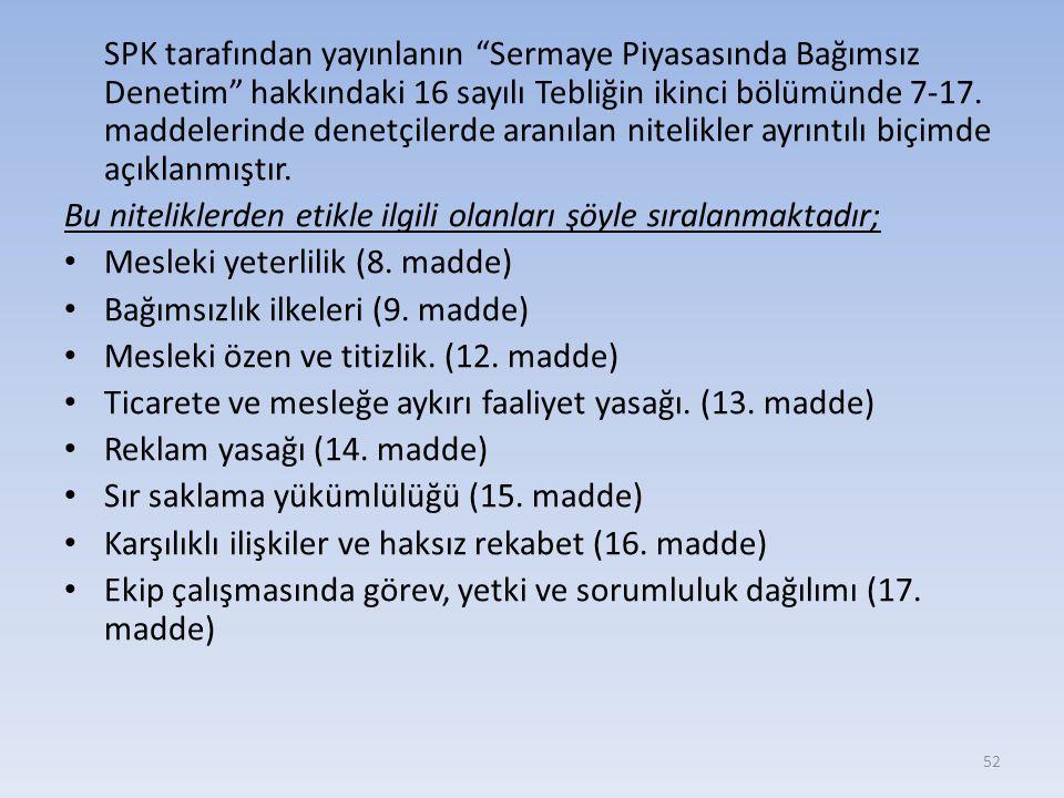 SPK tarafından yayınlanın Sermaye Piyasasında Bağımsız Denetim hakkındaki 16 sayılı Tebliğin ikinci bölümünde 7-17.