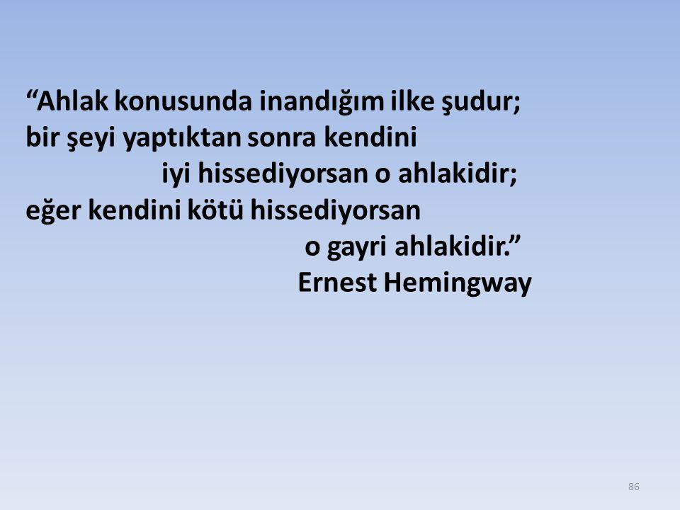 86 Ahlak konusunda inandığım ilke şudur; bir şeyi yaptıktan sonra kendini iyi hissediyorsan o ahlakidir; eğer kendini kötü hissediyorsan o gayri ahlakidir. Ernest Hemingway