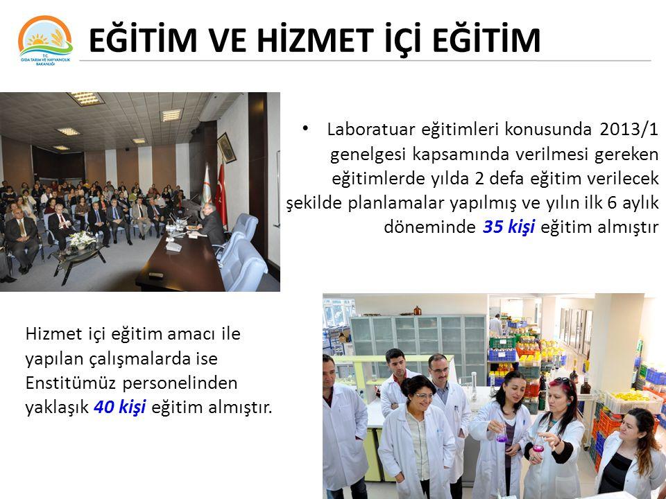 EĞİTİM VE HİZMET İÇİ EĞİTİM Laboratuar eğitimleri konusunda 2013/1 genelgesi kapsamında verilmesi gereken eğitimlerde yılda 2 defa eğitim verilecek şe