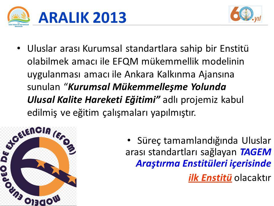 ARALIK 2013 Uluslar arası Kurumsal standartlara sahip bir Enstitü olabilmek amacı ile EFQM mükemmellik modelinin uygulanması amacı ile Ankara Kalkınma