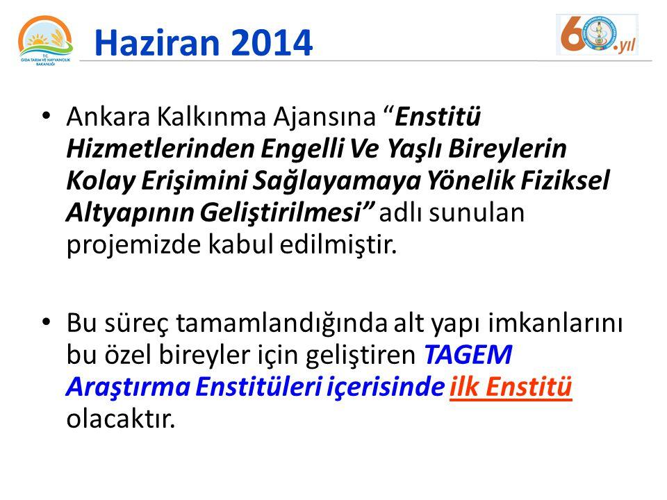 """Haziran 2014 Ankara Kalkınma Ajansına """"Enstitü Hizmetlerinden Engelli Ve Yaşlı Bireylerin Kolay Erişimini Sağlayamaya Yönelik Fiziksel Altyapının Geli"""