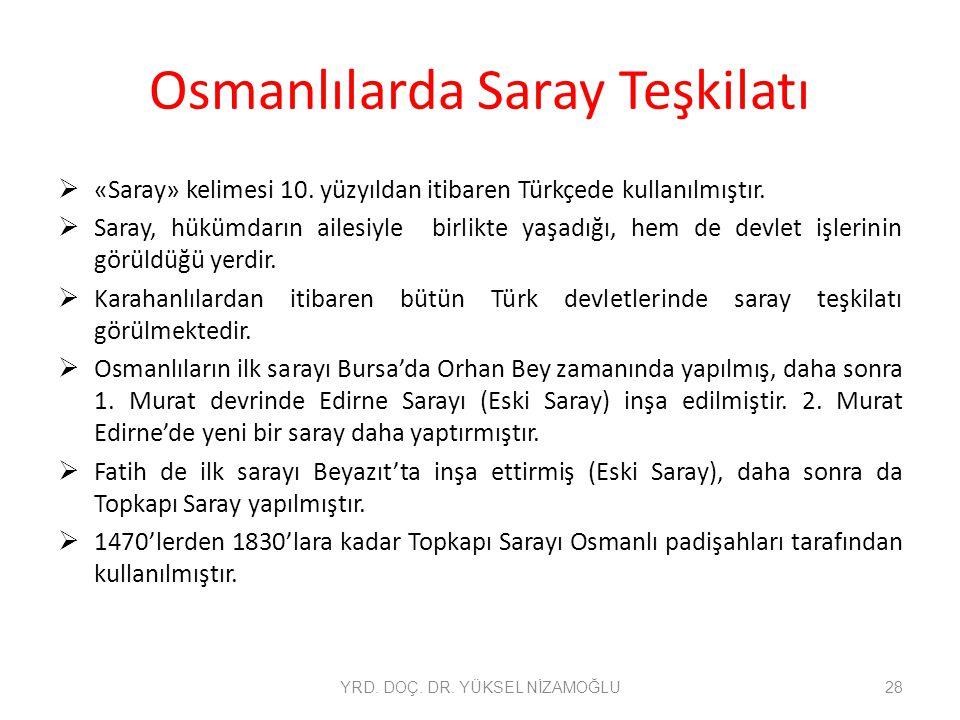 Osmanlılarda Saray Teşkilatı  «Saray» kelimesi 10. yüzyıldan itibaren Türkçede kullanılmıştır.  Saray, hükümdarın ailesiyle birlikte yaşadığı, hem d