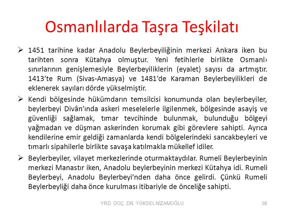 Osmanlılarda Taşra Teşkilatı  1451 tarihine kadar Anadolu Beylerbeyiliğinin merkezi Ankara iken bu tarihten sonra Kütahya olmuştur. Yeni fetihlerle b