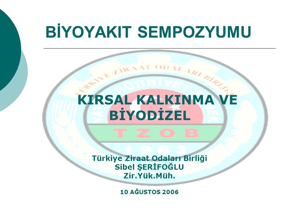 BİYOYAKIT SEMPOZYUMU KIRSAL KALKINMA VE BİYODİZEL Türkiye Ziraat Odaları Birliği Sibel ŞERİFOĞLU Zir.Yük.Müh. 10 AĞUSTOS 2006