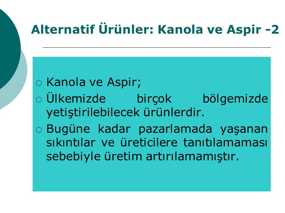 Alternatif Ürünler: Kanola ve Aspir -2  Kanola ve Aspir;  Ülkemizde birçok bölgemizde yetiştirilebilecek ürünlerdir.  Bugüne kadar pazarlamada yaşa