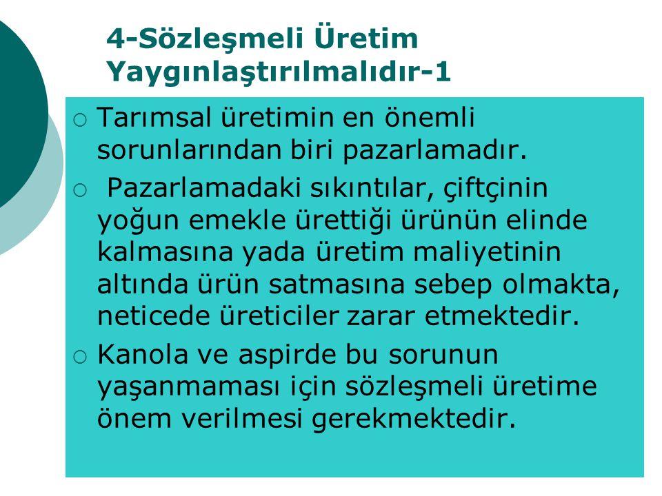 4-Sözleşmeli Üretim Yaygınlaştırılmalıdır-1  Tarımsal üretimin en önemli sorunlarından biri pazarlamadır.
