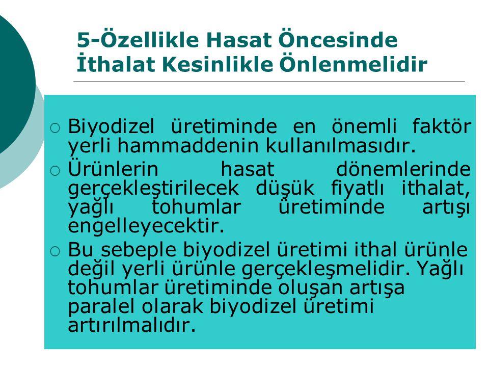 5-Özellikle Hasat Öncesinde İthalat Kesinlikle Önlenmelidir  Biyodizel üretiminde en önemli faktör yerli hammaddenin kullanılmasıdır.