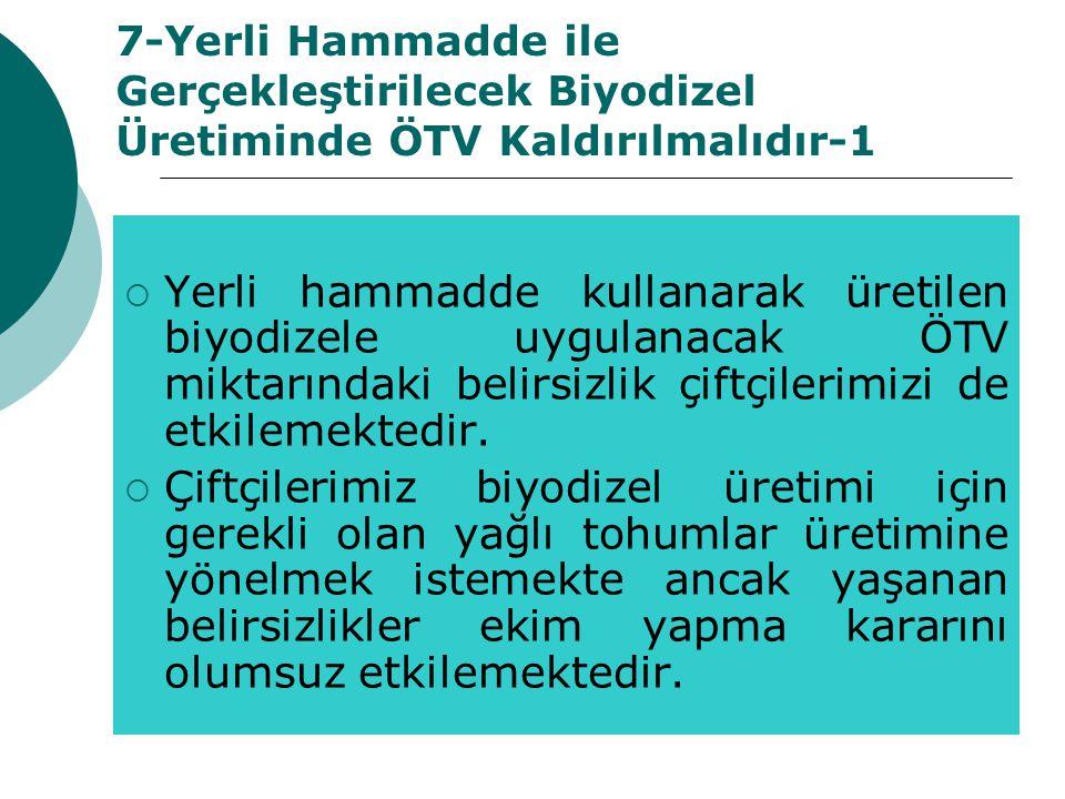 7-Yerli Hammadde ile Gerçekleştirilecek Biyodizel Üretiminde ÖTV Kaldırılmalıdır-1  Yerli hammadde kullanarak üretilen biyodizele uygulanacak ÖTV mik