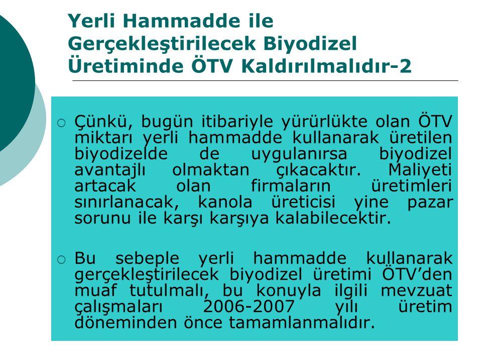 Yerli Hammadde ile Gerçekleştirilecek Biyodizel Üretiminde ÖTV Kaldırılmalıdır-2  Çünkü, bugün itibariyle yürürlükte olan ÖTV miktarı yerli hammadde