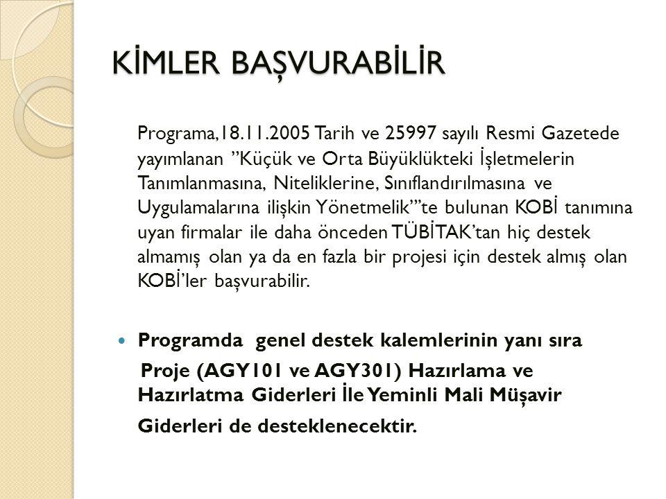"""K İ MLER BAŞVURAB İ L İ R Programa,18.11.2005 Tarih ve 25997 sayılı Resmi Gazetede yayımlanan """"Küçük ve Orta Büyüklükteki İ şletmelerin Tanımlanmasına"""
