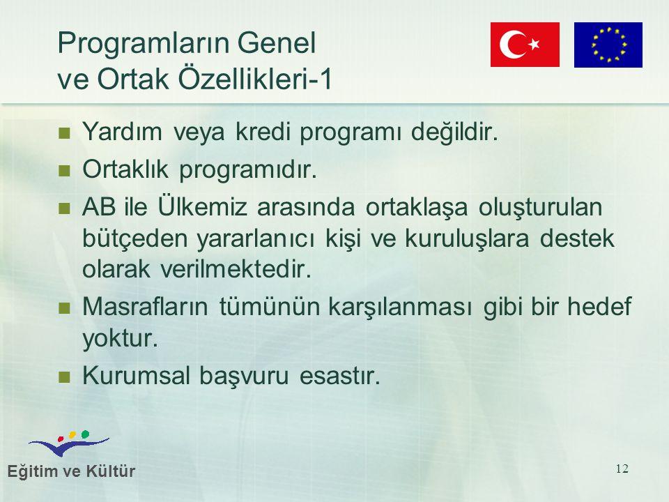 Eğitim ve Kültür 12 Programların Genel ve Ortak Özellikleri-1 Yardım veya kredi programı değildir. Ortaklık programıdır. AB ile Ülkemiz arasında ortak