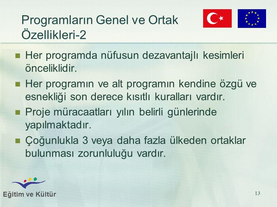 Eğitim ve Kültür 13 Her programda nüfusun dezavantajlı kesimleri önceliklidir.