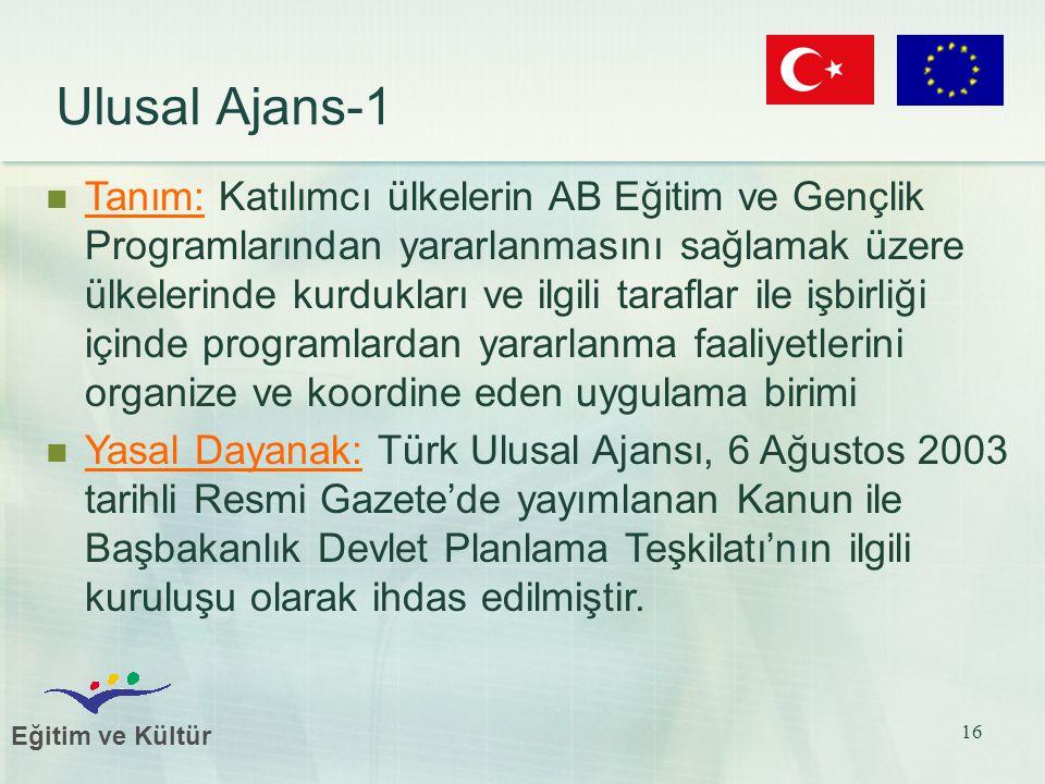 Eğitim ve Kültür 16 Ulusal Ajans-1 Tanım: Katılımcı ülkelerin AB Eğitim ve Gençlik Programlarından yararlanmasını sağlamak üzere ülkelerinde kurdukları ve ilgili taraflar ile işbirliği içinde programlardan yararlanma faaliyetlerini organize ve koordine eden uygulama birimi Yasal Dayanak: Türk Ulusal Ajansı, 6 Ağustos 2003 tarihli Resmi Gazete'de yayımlanan Kanun ile Başbakanlık Devlet Planlama Teşkilatı'nın ilgili kuruluşu olarak ihdas edilmiştir.